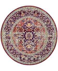 """Claremont Purple and Coral 6'7"""" x 6'7"""" Round Area Rug"""