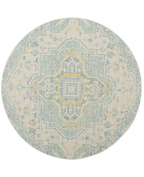 Safavieh Windsor Light Gray and Sea foam 6' x 6' Round Area Rug