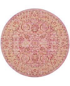 Safavieh Windsor Pink and Orange 6' x 6' Round Area Rug