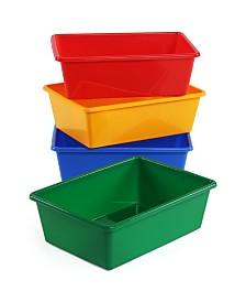 Tot Tutors Plastic Bin Pack of 4, Large