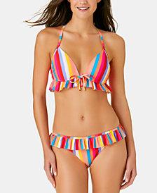 California Waves Juniors' Aruba Striped Ruffle Triangle Push Up Bikini Top & Aruba Striped Ruffle Hipster Bottoms, Created for Macy's