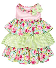 Bonnie Baby Baby Girls Tiered Ruffle Dress