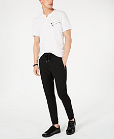 I.N.C. Men's Split-Neck T-Shirt & Moto Knit Jogger Pants, Created for Macy's
