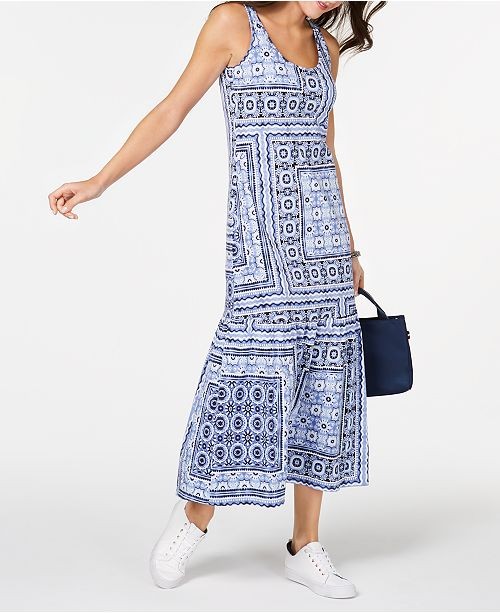 3b3e32712e8 Tommy Hilfiger Patchwork-Print Maxi Dress, Created for Macy's ...