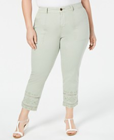 Style & Co Plus Size Embroidered Crochet-Trim Pants, Created for Macy's