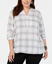 2908128c Style & Co Plus Size Cotton Windowpane Plaid Split-Neck Shirt, Created for  Macy's
