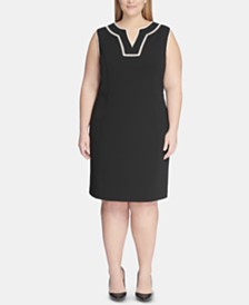Tommy Hilfiger Plus Size Contrast-Trim Sheath Dress
