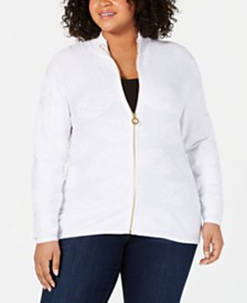 Belldini Plus Size Leaf-Jacquard Zippered Sweater