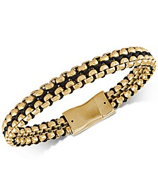 Woven Cord Bracelet in Gold Ion-Plated Stainless Steel, Created for Macy's