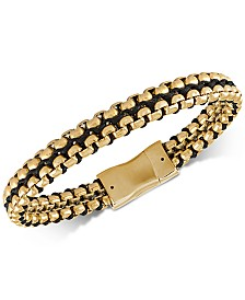 Esquire Men's Jewelry Woven Cord Bracelet in Gold Ion-Plated Stainless Steel, Created for Macy's