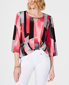JM Collection Petite Printed Twist-Front Top, Created for Macy's