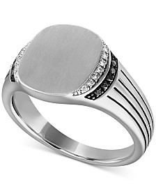 Esquire Men's Jewelry Diamond Ring (1/8 ct. t.w.) in Sterling Silver, Created for Macy's