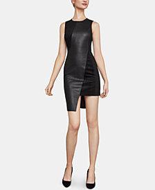 BCBGMAXAZRIA Mixed-Media Asymmetrical Sheath Dress