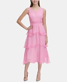 Tommy Hilfiger Petite Gingham-Chiffon Tiered Midi Dress