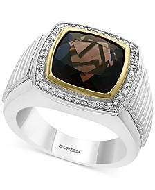 EFFY® Men's Smoky Quartz (6-1/2 ct. t.w.) & Diamond (1/3 ct. t.w.) Ring in Sterling Silver & 14k Gold-Plate