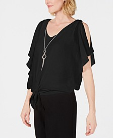 Tie-Front Necklace Blouse, Created for Macy's