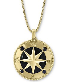 "EFFY® Men's Black Sapphire (1/4 ct. t.w.) & Onyx 22"" Compass Pendant Necklace in 14k Gold"