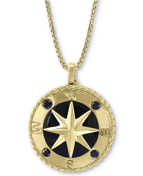 "EFFY Collection EFFY® Men's Black Sapphire (1/4 ct. t.w.) & Onyx 22"" Compass Pendant Necklace in 14k Gold"