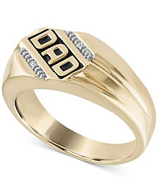 "Men's Diamond Accent ""DAD"" Ring in 14k Gold-Plated Sterling Silver"