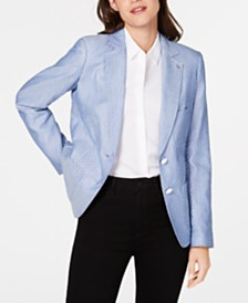 Tommy Hilfiger Dot-Print Two-Button Jacket, Created for Macy's