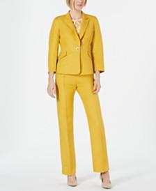 Kasper Single-Button Blazer, Printed Top & Pants