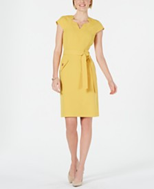 Kasper Belted Cap-Sleeve Dress