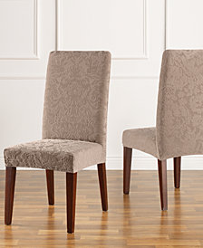 Sure Fit Stretch Jacquard Damask Short Dining Chair Slipcover
