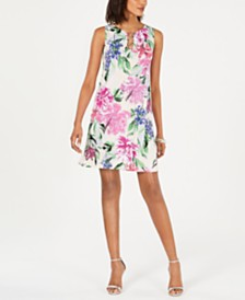 MSK Petite Sleeveless 3-Ring Floral Dress
