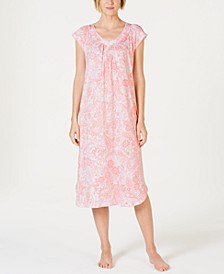 Batik Paisley-Print Short-Sleeve Knit Nightgown