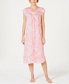 Miss Elaine Batik Paisley-Print Short-Sleeve Knit Nightgown