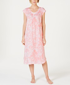 Miss Elaine Batik Paisley-Print Short-Sleeve Knit Nightgown