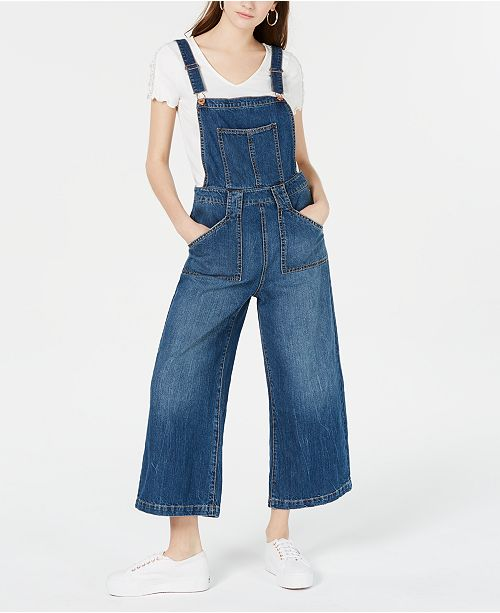 American Rag Juniors' Wide-Leg Denim Overalls, Created for Macy's