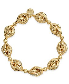 Charter Club Gold-Tone Crystal Infinity Link Stretch Bracelet, Created for Macy's