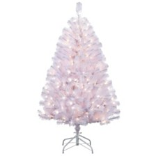 Puleo International 4.5 ft Pre-Lit Shiny White Noble Fir Artificial Christmas Tree with 250 UL-Listed Clear Lights