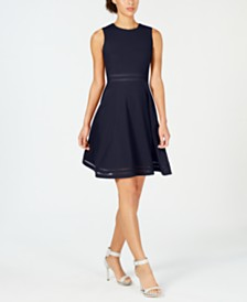 Calvin Klein Illusion-Trim Fit & Flare Dress