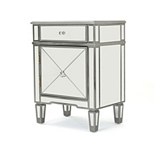 Neely Mirrored 2 Drawer Cabinet End Table, Quick Ship
