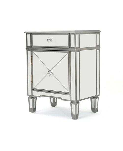 Noble House Neely Mirrored 2 Drawer Cabinet End Table, Quick Ship