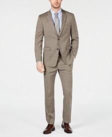 Men's Modern-Fit THFlex Stretch Tan Double Windowpane Suit