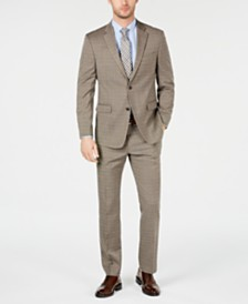 Tommy Hilfiger Men's Modern-Fit THFlex Stretch Tan Double Windowpane Suit