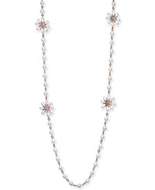 """Charter Club Gold-Tone Crystal & Imitation Pearl Flower Strand Necklace, 42"""" + 2"""" extender, Created for Macy's"""
