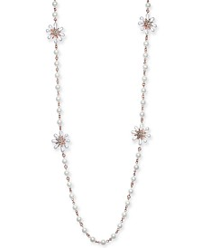 "Charter Club Gold-Tone Crystal & Imitation Pearl Flower Strand Necklace, 42"" + 2"" extender, Created for Macy's"