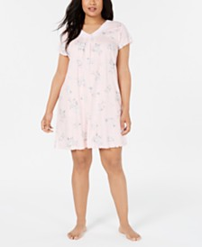 Miss Elaine Plus-Size Cottonessa Lace Trim Knit Nightgown