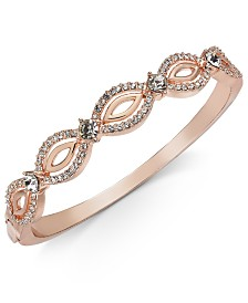Charter Club Rose Gold-Tone Crystal Openwork Bangle Bracelet, Created for Macy's