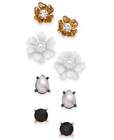 I.N.C. Tri-Tone 4-Pc. Set Crystal & Imitation Pearl Flower Stud Earrings, Created for Macy's