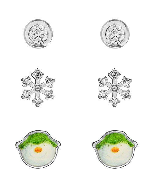 Rhona Sutton Snowman Cubic Zirconia Snowflake Set of 3 Stud Earrings