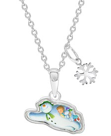 Snowman Flying Pendant Necklace