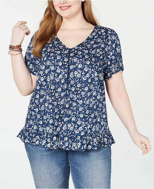 Lucky Brand Plus Size Floral-Print Ruffled Top