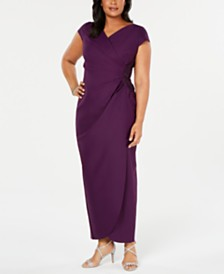Alex Evenings Plus Size Cap-Sleeve Surplice Gown