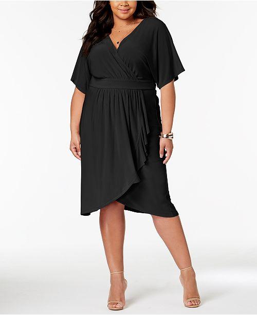 Love Squared Trendy Plus Size Faux-Wrap Dress & Reviews ...