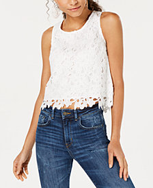 Bar III Cropped Lace Top, Created for Macy's